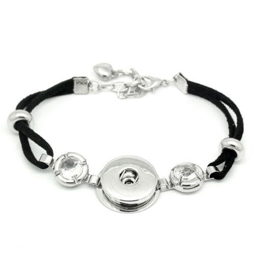 1 Schwarz Polyester Charm Armband Armkette mit Strass Passt Druckknopf 20cm JO
