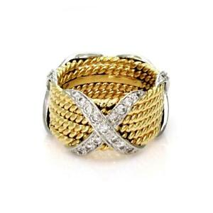 cbe19482d6d14 Details about Tiffany & Co. Schlumberger Diamond 18k Gold Platinum 6 Rows X  Band Ring Re$7900