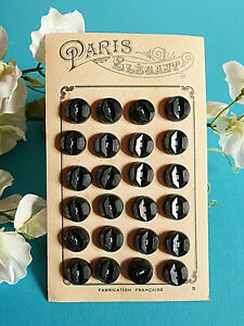 007C-Grossartig-Platte-von-24-Knoepfe-Antike-034-Paris-Elegant-034-Schwarz-Ep-Art