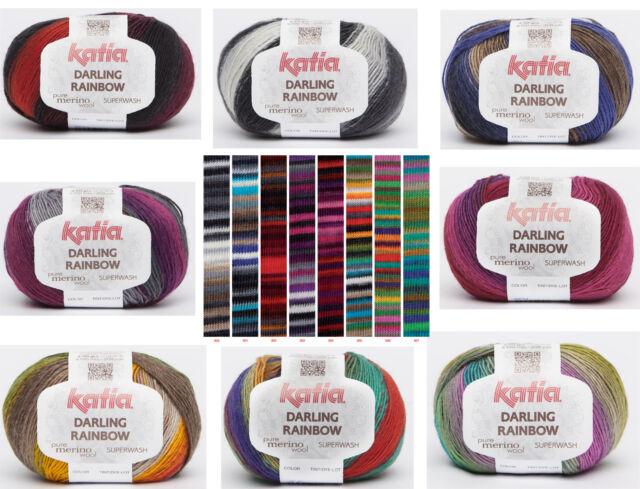 11€/100g Katia Darling Rainbow Wolle mit Merino Sockenwolle Lacegarn Farbverlauf