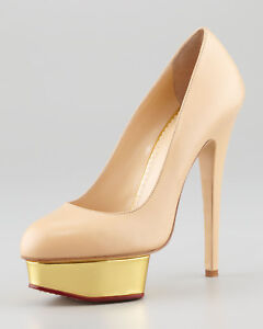 3328d9dcc8c Image is loading 795-New-Charlotte-Olympia-DOLLY-Leather-Platform-Pumps-