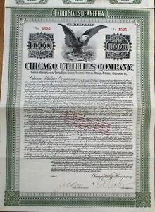 039-Chicago-Utilities-Company-039-1912-Stock-Gold-Bond-Certificate-Illinois-Maine