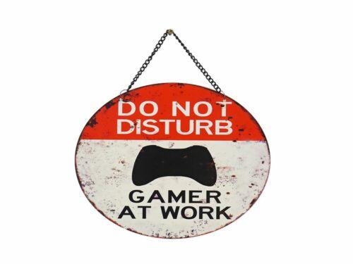 Escudo de chapa pared escudo espacial do not disturb Gamer at work 25x20 cm 9345