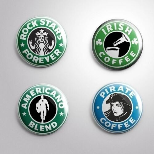 COFFEE TYPES PINS BADGES BUTTONS