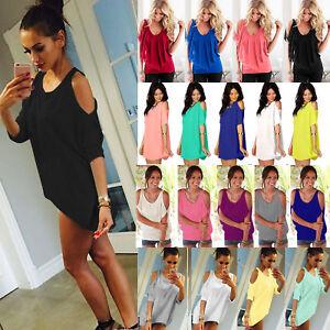 Womens-Casual-Loose-Tops-Cold-Shoulder-T-shirt-Blouse-Summer-Beach-Tee-Shirts-US