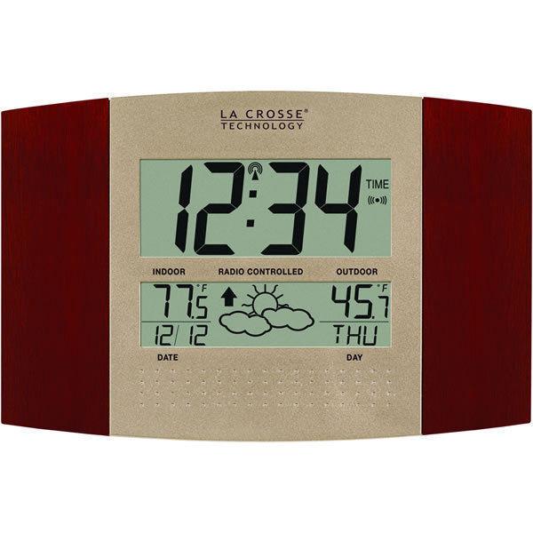 La Crosse Atomic Automatic Setting Cherry Wall Clock Remote Temp F or C Forecast