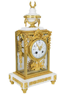 Pendule Vitrée. Kaminuhr Empire clock bronze horloge antique cartel Napoleon