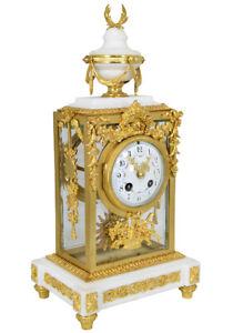 Pendule-Vitree-Kaminuhr-Empire-clock-bronze-horloge-antique-cartel-Napoleon