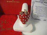 Kjl Kenneth Lane Big Red Strawberry Ring Newboxed - Fabulous Size 9