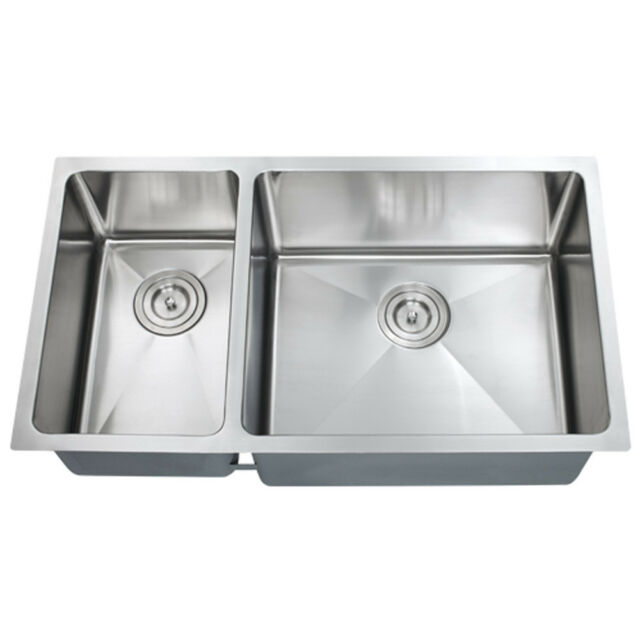 30 X 16 Double Bowl Stainless Steel Hand Made Undermount Kitchen Sink Combo