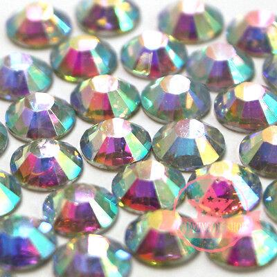 250  DIY Resin 14 facets Rhinestone 5mm round Flatback Crystal AB A5-04