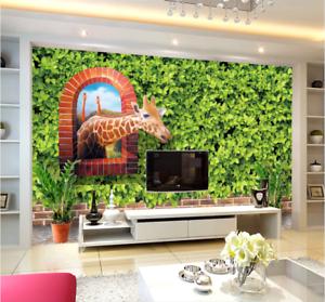 3D Green Leaf Giraffe 688 Wall Paper Wall Print Decal Deco Indoor Wall Mural CA