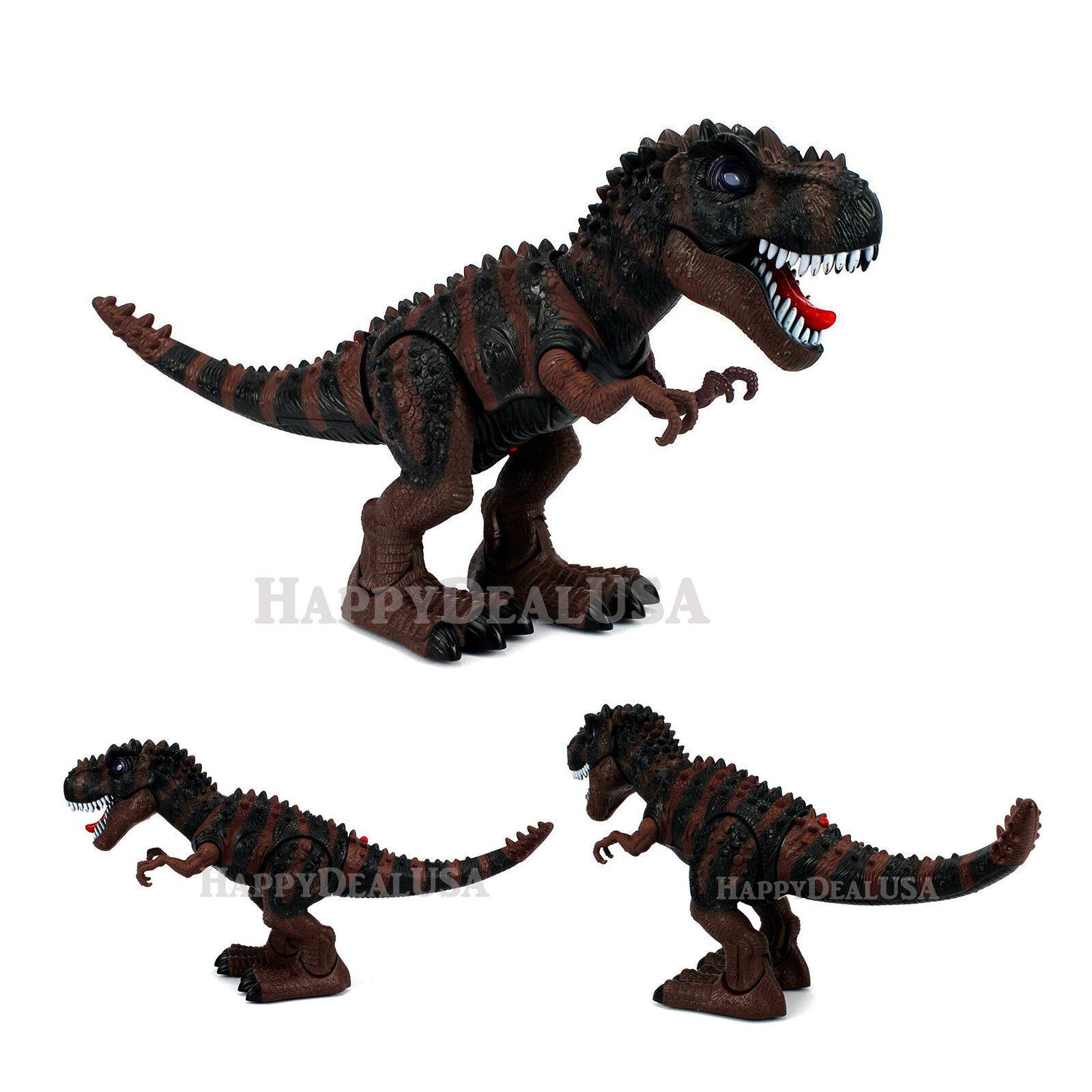 Walking Battery Operated Toy Dinosaur T-Rex Tyrannosaurus Rex Light Sound BROWN