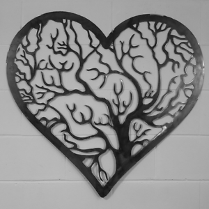 Heart Shaped Border Tree Of Life Wall Art Solid Steel
