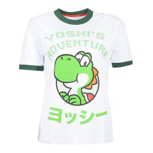 NOUVEAU-Nintendo-Super-Mario-Bros-Yoshi-aventure-T-shirt-femme-S-blanc-vert-TS6