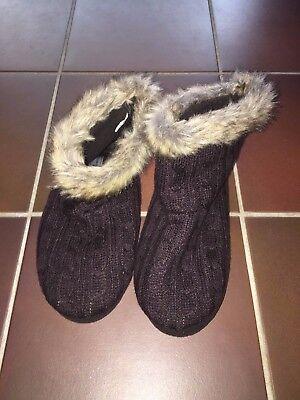 Damen Hausschuhe Puschen Schuhe braun Strick mit Fell warm Gr. 40/41