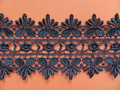 "Superb Black Venise Guipure Lace Trim 3""/8cm Costume Dress Crafts - Per Metre"