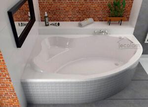 Relativ große Badewanne Eckbadewanne eckig Wanne Acryl 180x120 Füße Ablauf JG36