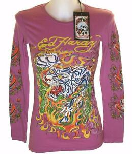 Details about New Women's Ed Hardy Long Sleeve Specialty T Shirt Stretch Flaming Tiger Xsmall