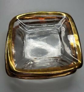 """Set Of 4 Square Gold Rimmed 5.75"""" Plate Heavy Euc"""