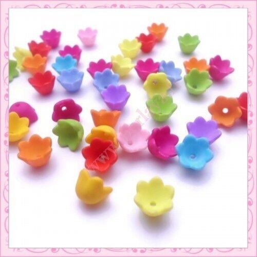 200 perles lucites fleurs 10mm en acrylique REF002942