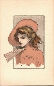 Lady-with-Shotgun-Rifle-Hat-Annie-Oakley-c1910s-Sports-Vintage-Postcard-N20