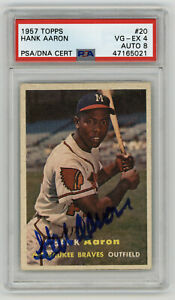 1957 BRAVES Hank Aaron signed card Topps #20 PSA 4 AUTO 8 Autograph MVP PSA/DNA