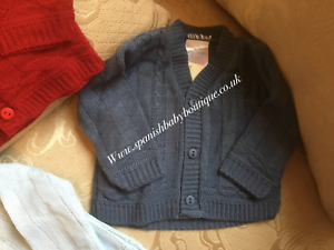 Baby Boys Spanish Romany Traditional V Neck Cable Knitted Cardigan Navy or Grey