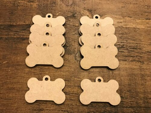 10x 3mm MDF Wooden Dog Bone Tag Craft embellishments 34mm x 50mm
