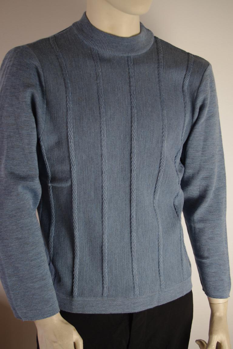 Herren CYLAIN Pullover blau 70er NOS True Vintage 80er Gr.48 sweater 70s Blau