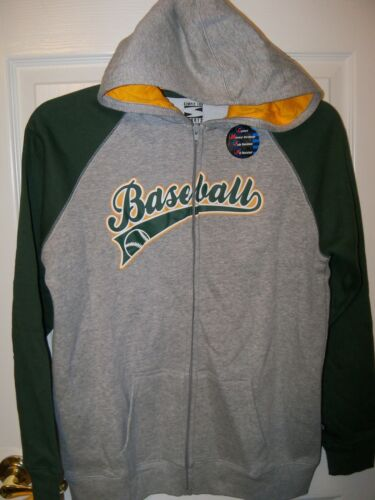 Simply For Sports Baseball Zip Jacket Hoodie Gray Green Boys Size 18 20 NWT