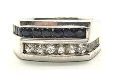 Sterling Silver Round Blue Sapphire / CZ Pave Zig Zag Rectangle Men's Ring 9.75