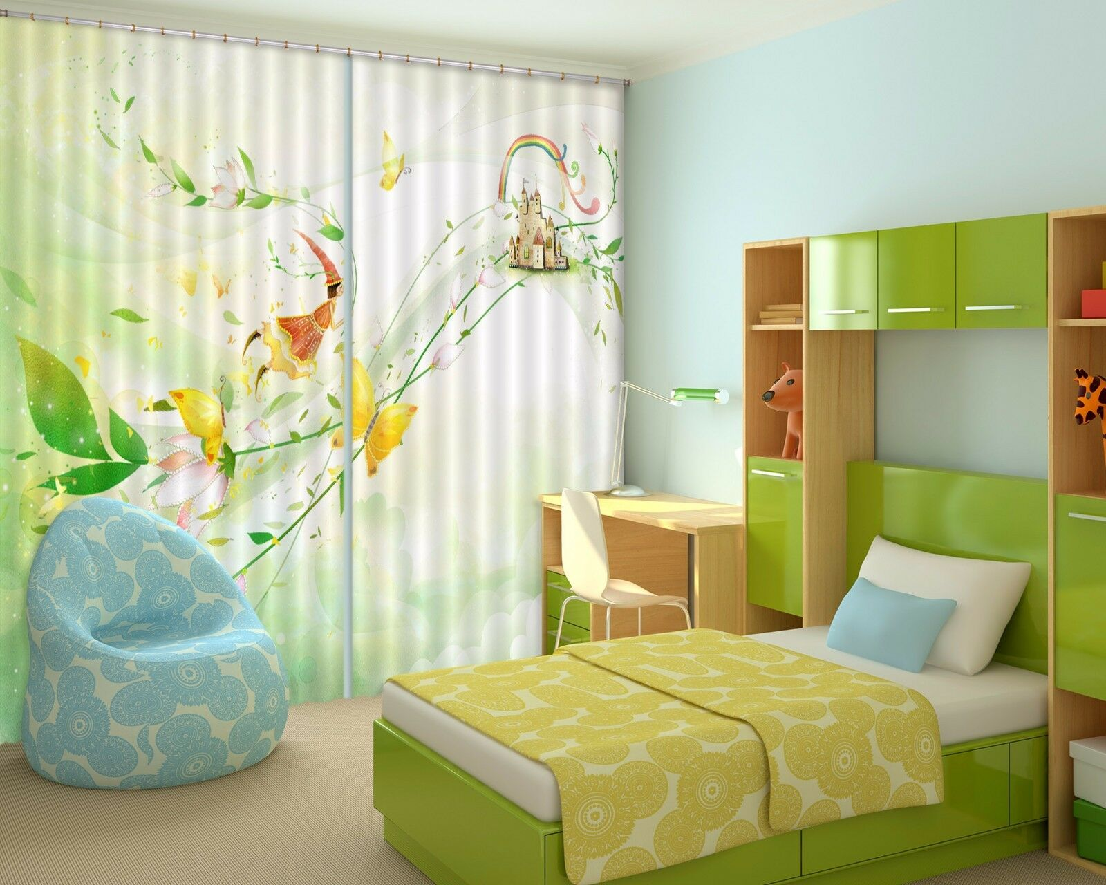 Hoja De Hadas 3D 3 Cortinas de impresión de cortina de foto Blockout Tela Cortinas Ventana au