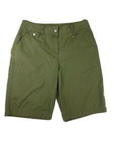 Jones-New-York-Sport-Womens-Bermuda-Shorts-Green-Cotton-Size-10-Medium