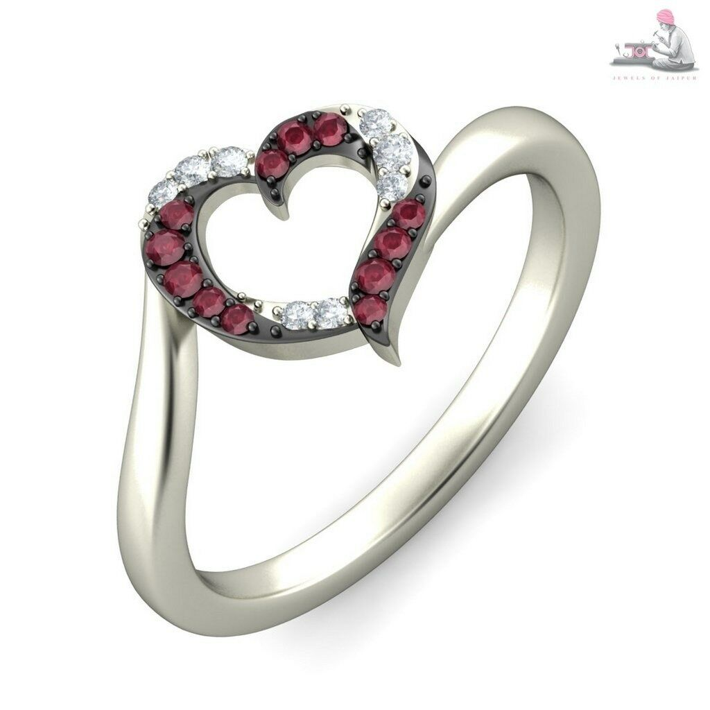 0.40CT Certified DIAMOND Natural Ruby gemstone 14k white gold ring
