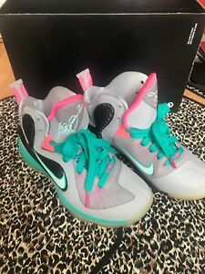 super popular 67348 ab3a8 Image is loading Nike-LeBron-IX-9-Grey-Green-Pink-South-