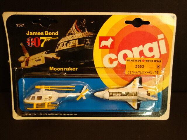 All Original CORGI TOYS James Bond Moonraker Drax Helicopter & Space Shuttle