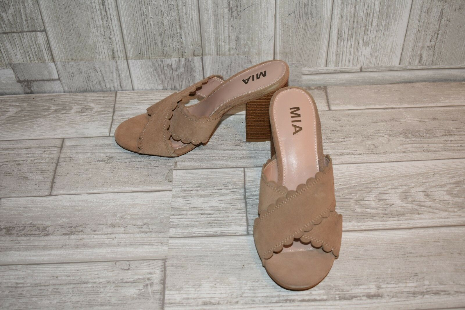 MIA Roasalyn Suede Mules, Women's Size 8.5M, Natural NEW
