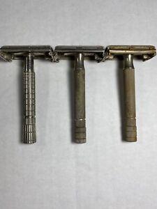 3-Lot-Vintage-Gillette-Safety-razor-Reg-U-S-Pat-Off-3-Made-In-USA
