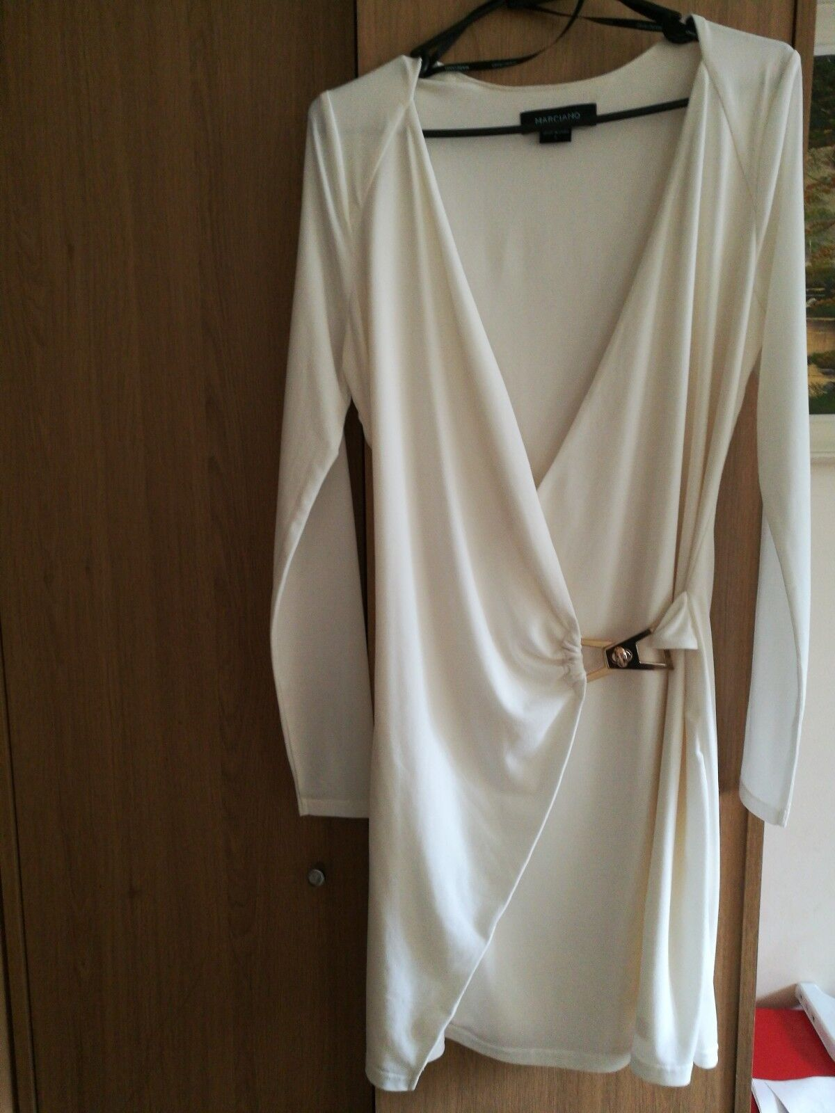 Marciano Guess Lettie White Wrap Dress Size S Long sleeve