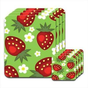Lots-of-Juicy-Ripe-Strawberries-with-Daisy-Flowers-Set-of-4-Placemats-amp-Coasters