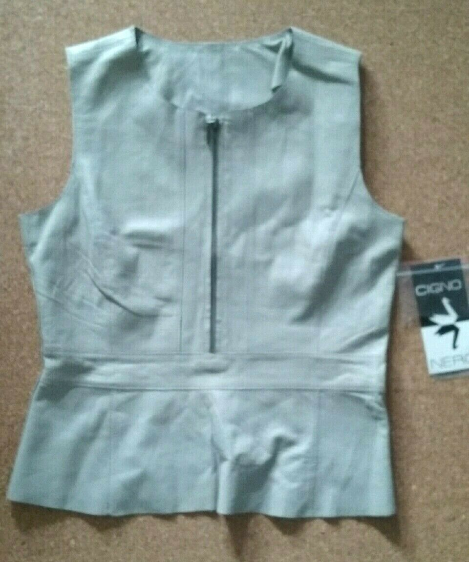 New Cigno schwarz Ladies Fine Leather Top Light grau Größe 36