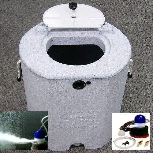Keep Alive 30 Gallon Insulated Fishing Bait Tank Fish Livewell & KA1100 Aerator