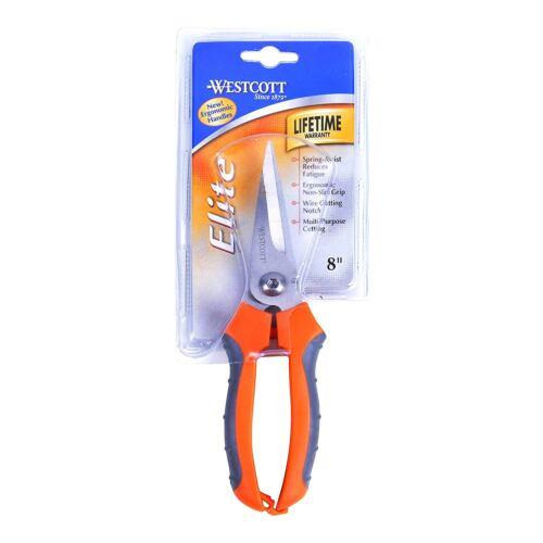 "Westcott 8/"" Elite Utility Spring Assist Utilty Snips Scissors 47217"