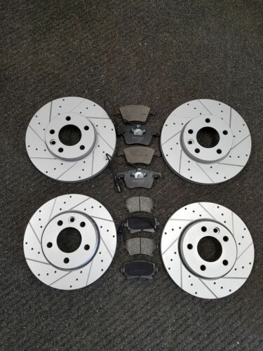 VW TRANSPORTER CARAVELLE 1.9 2.5 TDI T5 avant et arrière foré rainure disques Pads