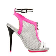 GX by Gwen Stefani Hot Pink/Grey Mesh Ankle Strap Open Toe Stiletto Heels, US 11