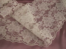 Ivory Lace Trim, 7 In Wide, 3 YARDS, Galloon Lace, Flat Lace