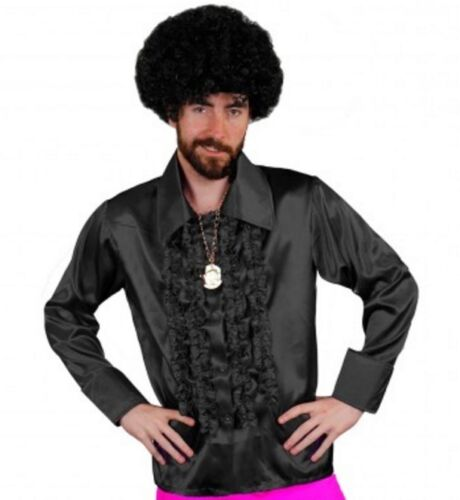 "Black Satin 70/'s 80/'s Ruffle Frilly Disco Shirt Fancy Dress Costume 46-52/"" Chest"