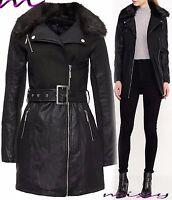 NEW Womens BELTED BIKER JACKET FAUX LEATHER Ladies Long ZIP Coat Size 8 TO 16 NE