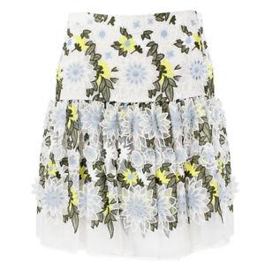 Erdem-White-Lemon-Blue-3D-Organza-Flower-Mini-Skirt-UK8-IT40